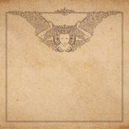 Vintage old paper texture with vector detailed art-nouveau decorative engraved angel woman frame, hand drawn ornament Vector