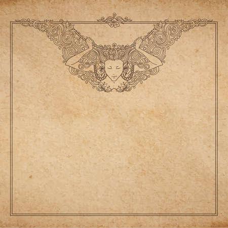 Vintage oud papier textuur met vector gedetailleerde art-nouveau decoratieve gegraveerd engel vrouw frame, hand getrokken ornament Stock Illustratie