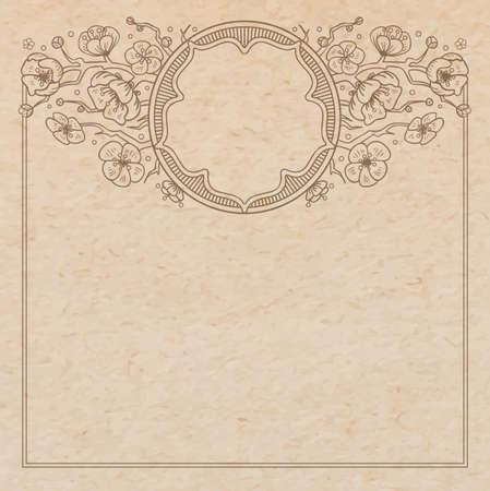 cerezos en flor: Vintage textura de papel viejo con el vector tradicional marco viñeta oriental con flores de cerezo, dibujado a mano ornamento floral japonés con el árbol de sakura, copia espacio emblema