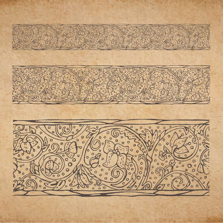Vintage old paper texture background with floral ornamental seamless border, scrapbooking victorian style decorative elements page, hand drawn vector illustration Vector