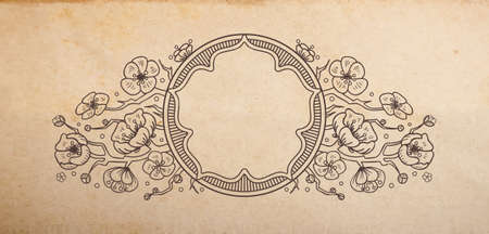 Vintage old paper texture with vector traditional oriental vignette with cherry blossom flowers, hand drawn floral japanese ornament with sakura tree copy space emblem