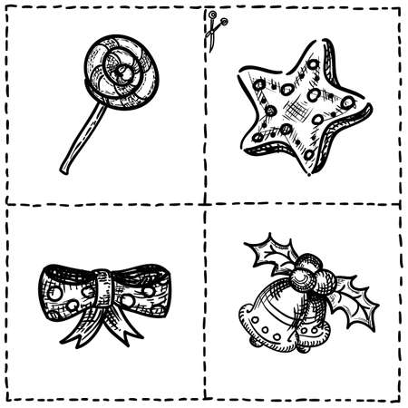 christmas party people: Vector set of cut out cards with xmas symboils, hand drawn doodles of holiday icons and marks for cutting out, page for coloring and playing Illustration