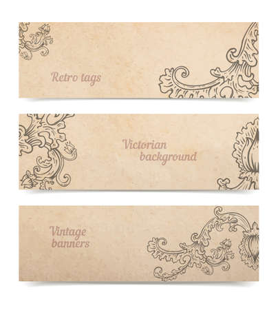 Vintage old paper texture background with set of floral ornamental banners, victorian gift and goods tags collection, hand drawn vector illustration isolated on white, transparent shadows Illustration