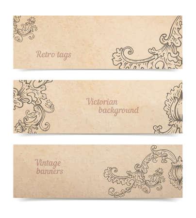 Vintage viejo fondo de textura de papel con un conjunto de banderas ornamentales florales, regalo victoriana y la recopilación de etiquetas de mercancías, dibujado a mano ilustración vectorial aislado en blanco, las sombras transparentes