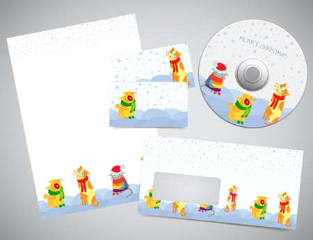 brief papier: Corporate identity of gift set - Kerst ontwerp printsjablonen met letter papier pagina, visitekaartjes, enveloppen en cd of dvd mock-up Stock Illustratie
