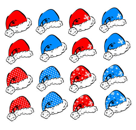 Set of vector decorative elements for Christmas and New Year holidays - red and blue Santa hats in 2 different head angles and 4 decoration styles Illustration
