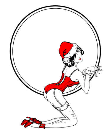 Pin-up classic sexy girl in red corset, Santa girl in Christmas hat  イラスト・ベクター素材