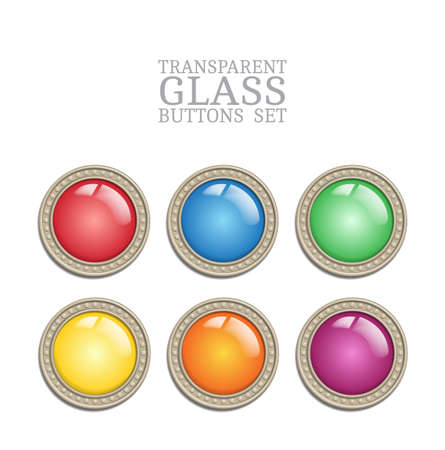 sidelight: Set of vector glass transparent button in metal frame, round illuminator like color icon element for web, game interface and steampunk scrapbooking decoration - with realistic transparent glass lense and shadow