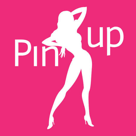 saxy: Silhouette of pin-up sexy girl on pink background with word pin up Illustration