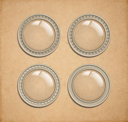 Set of vector glass transparent button in metal frame, round illuminator like icon element for web, game interface and steampunk scrapbooking decoration - with realistic transparent shadow, on vintge parchment background Vector