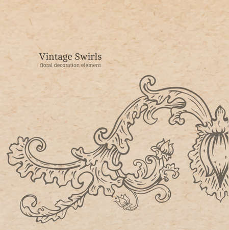 artnouveau: Vintage old paper texture with vector detailed art-nouveau decorative engraved floral ornament, hand drawn element Illustration