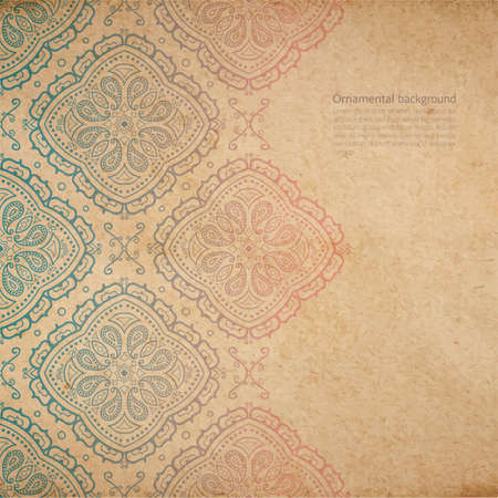 Vector ornate background with copy space, color faded out of time ornament on old cardboard