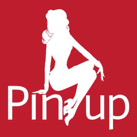 sexy girl sitting: Silhouette di pin-up sexy ragazza seduta su sfondo rosso con la parola pin up
