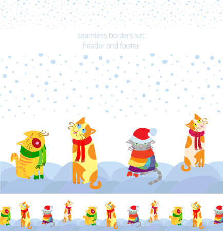 Holiday vector seamless borders set with Christmas cats sitting in the snow, header and footed for seasonal decoration web sites, cards, interior and printing Vector