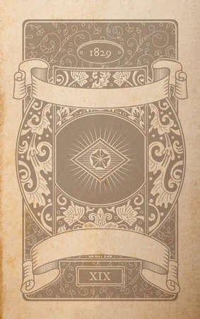 Vector vintage playing cards back design, floral ornamental faded out of time drawing on parchment