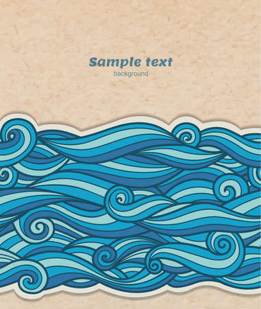 Vector blue waves pattern on cardboard background, volume paper effect, transparent shadows Vector