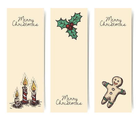 Christmas vector vertical banners, vintage drawings style on parchment, craft brown paper Vector
