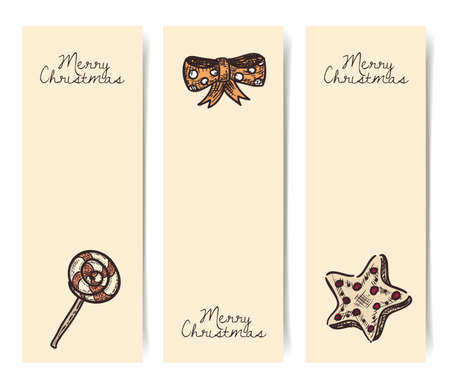 Christmas Vector Vertical Banners Vintage Drawings Style On