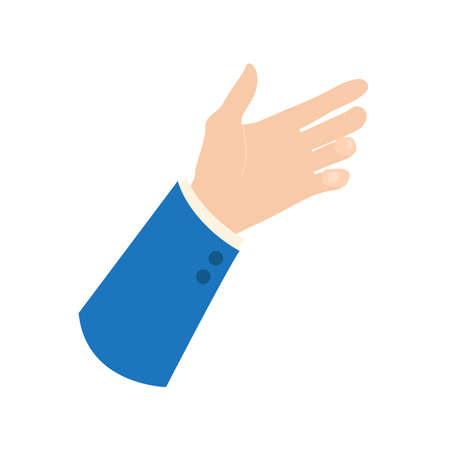Vector businessman hand icon: empty hand holding something - place your object in palm, blue business suit sleeve, isolated on white