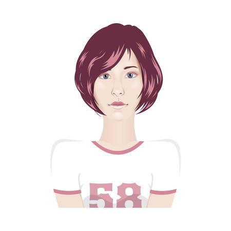 girl short hair: Vector girl portrait in sport t-shirt with short hair - avatar female portrait