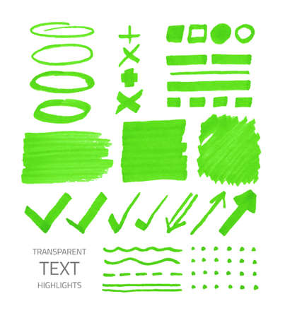 Vector collection of highlighter marker spots and signs, hand drawn decorative symbols, transparent elements isolated on white Vettoriali
