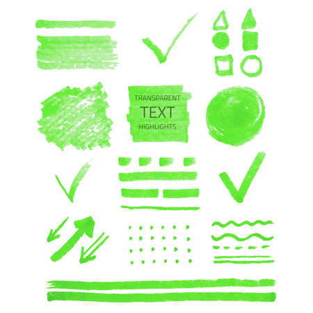 Vector collection of highlighter marker spots and signs, hand drawn decorative symbols, transparent elements isolated on white Vector