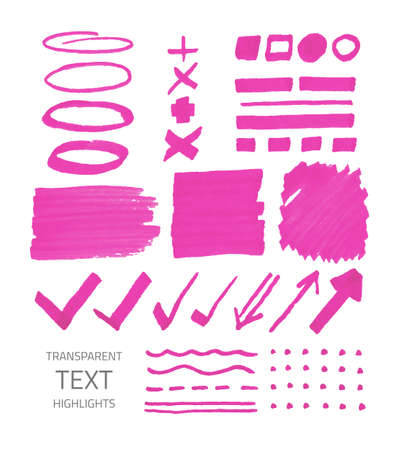 Vector collection of highlighter marker spots and signs, hand drawn decorative symbols, transparent elements isolated on white 矢量图像