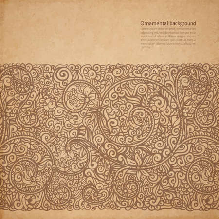 Vector ornate background with copy space, coffee brown ornament on old cardboard Vector