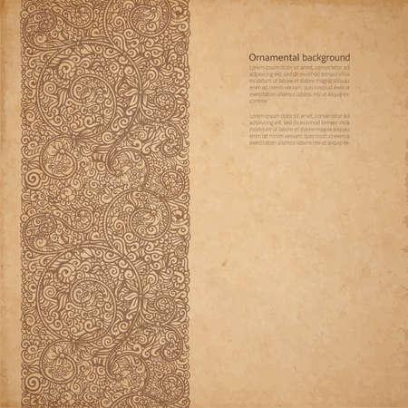 paper craft: Vector adornado de fondo con copia espacio, ornamento café marrón en cartón viejo Vectores