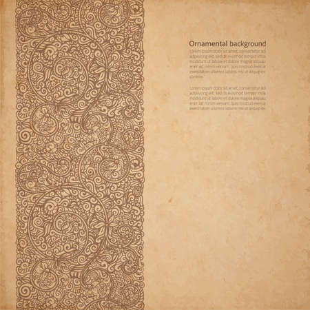 Vector ornate background with copy space, coffee brown ornament on old cardboard