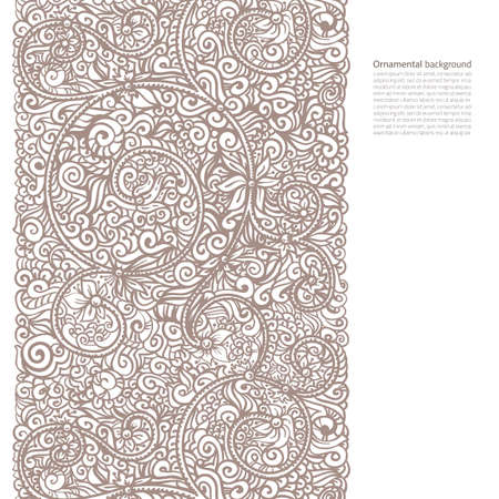 Vector ornate background with copy space, coffee brown ornament isolated on white page Ilustração