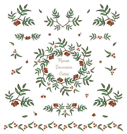 Vector set of cute tree twigs decorative elements, borders and vignettes made of rowan tree berries and leaves for cards and design