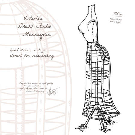 Vector hand drawn sketch of victorian vintage mannequine for dressing studio, retro object for decoration and scrapbooking Vector