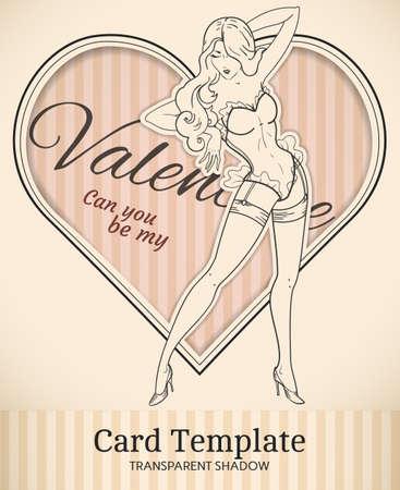 Vector Valentine Herz Und Retro-Pin-up-Frau Abbildung Mit ...