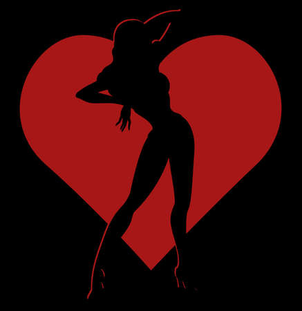 nude pretty girl: Vector black silhouette of sexy pin-up girl in red heart frame on black background, Valentine theme illustration Illustration