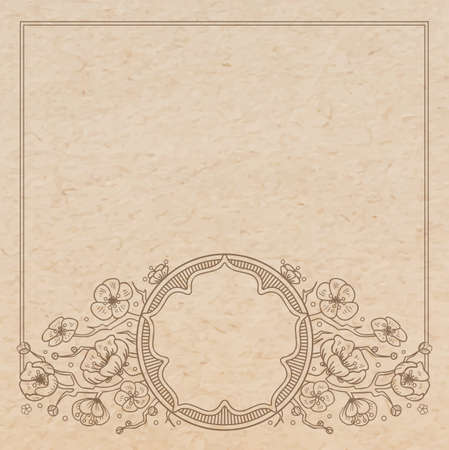Vintage old paper texture with vector traditional oriental vignette frame with cherry blossom flowers, hand drawn floral japanese ornament with sakura tree, copy space emblem Vector