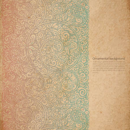 side border: Vector ornate background with copy space, color faded out of time ornament on old cardboard