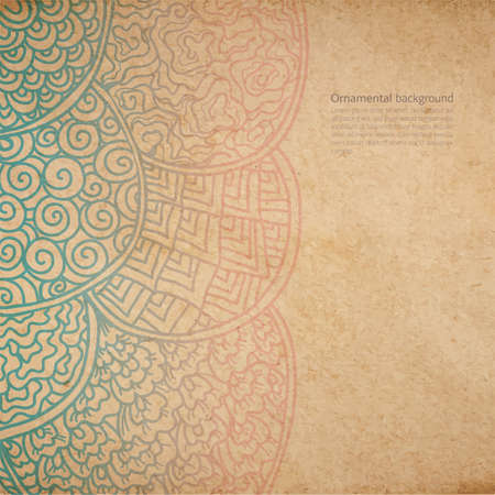 Vintage old paper texture with vector traditional japanese ornament, asian style hand drawn decorative background