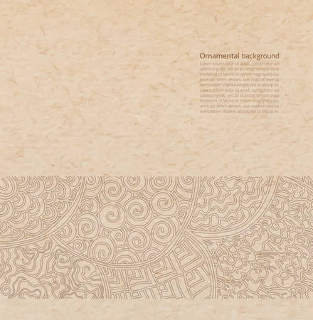 japanese paper art: Vector ornate background with copy space, brown ornament on old cardboard
