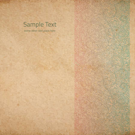 faded: Vector ornate background with copy space, color faded out of time ornament on old cardboard