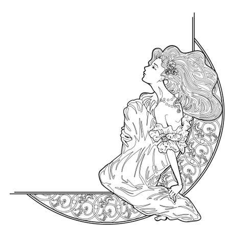 Vector art nouveau decoratieve hoek vignet met dame zittend op floral sierlijke frame