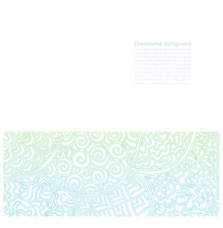 Vector ornate background with copy space, blue and green light ornament isolated on white page Illustration