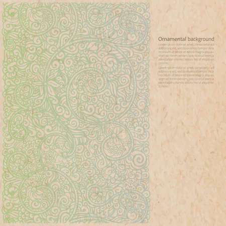 Vector ornate background with copy space, faded paint ornament on old cardboard