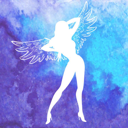 sexy nude women: Vector white silhouette of sexy woman with angel wings standing and dancing over watercolor blue hand drawn background