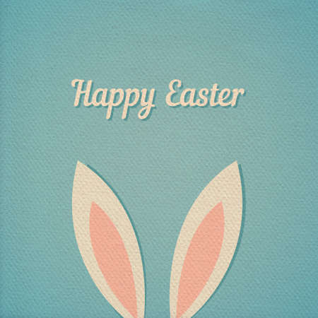 ear: Easter bunny ears card, realistic paper effect color cardboard background