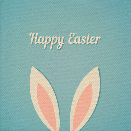 in ear: Pascua tarjeta de orejas de conejo, efecto de papel realista cart�n color de fondo Vectores