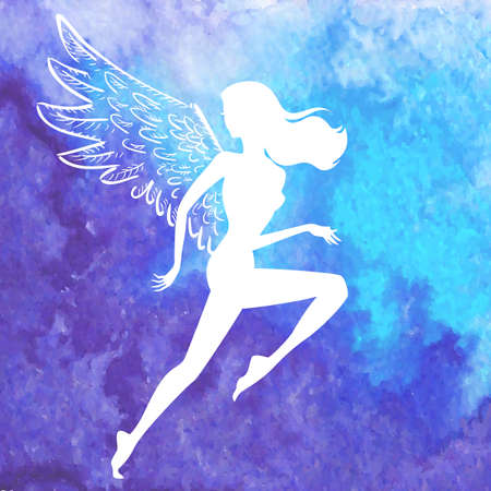 flying woman: Vector white silhouette of running woman with angel wings flying over watercolor blue hand drawn background