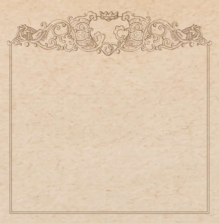 Vintage old paper texture with vector vignette with Medieval ornament, hand drawn floral decorative frame with heart and crown holded by hands, copy space emblem Vettoriali