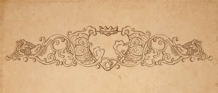 crowned: Vintage old paper texture with vector vignette with Medieval ornament, hand drawn floral decoration with crowned heart holded by hands