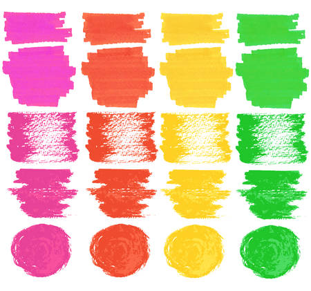 felt tip: Vector set of isolated on white felt tip pen spots, stroke and marks, colorful paint and ink decorative elements Illustration